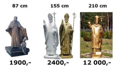 Pomniki Jana Pawła II na jednym z portali aukcyjnych..