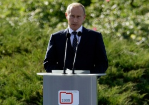 Russia's Prime Minister Vladimir Putin makes a speech at Westerplatte, September 1, 2009, during ceremonies marking the 70th anniversary of Nazi Germany's invasion of Poland. REUTERS/Peter Andrews (POLAND ANNIVERSARY POLITICS CONFLICT)