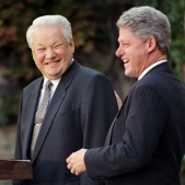 US President Bill Clinton (R) shown in a file photo dated 23 October 1995 laughing as Russian President Boris Yeltsin jokes while making a statement to the media after their meeting in Hyde Park. The two met to discuss the situation in Bosnia.